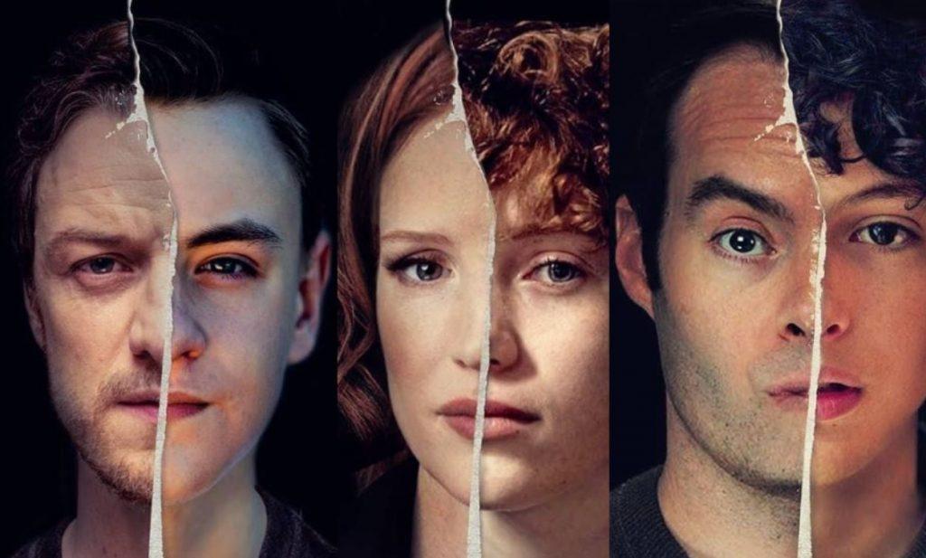 Três dos personagens principais de It, retratados em metade do rosto como adultos e na outra metade como crianças.