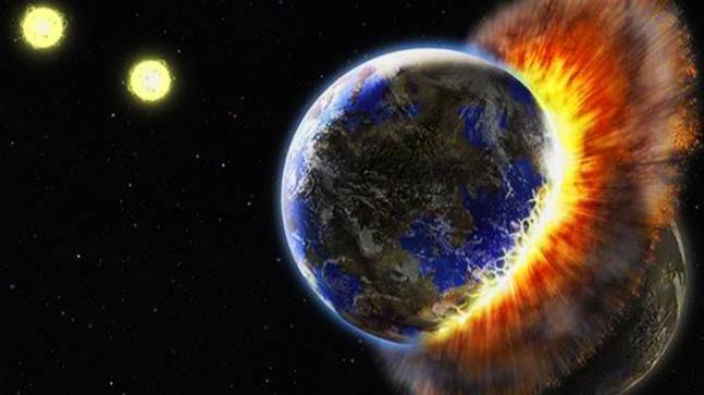 Representação do Planeta X colidindo com a Terra
