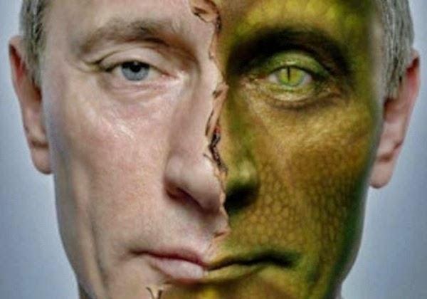 Imagem de rosto de Vladmir Putin dividida com o rosto humano e uma versão de réptil humanoide