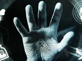 Imagem com símbolos de teorias da conspiração